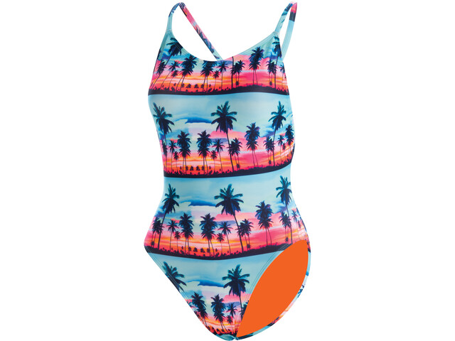Dolfin Print Low X-Back Traje Baño Una Pieza Mujer, Multicolor